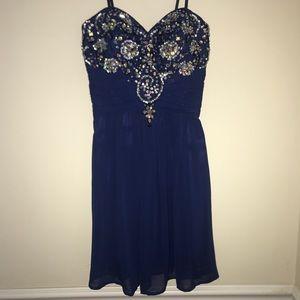 Dillard's Navy Blue Jeweled Dress